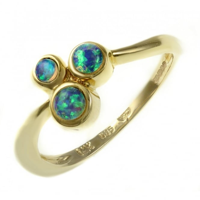 14ct yellow gold 0.40ct round natural opal cluster ring.