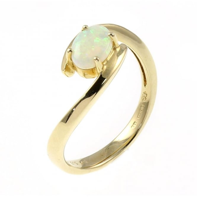 14ct yellow gold 0.46ct oval opal twist ring.
