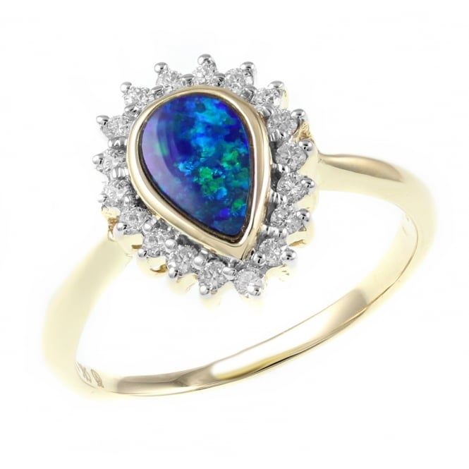 14ct yellow gold 0.51ct opal doublet & 0.22ct diamond ring.