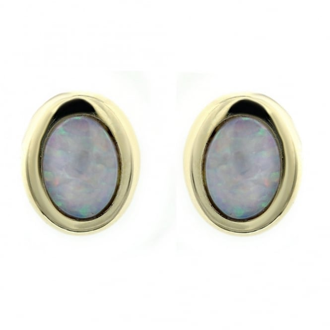 14ct yellow gold 0.62ct natural opal oval stud earrings.