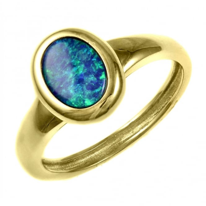 14ct yellow gold 0.70ct oval opal doublet ring.