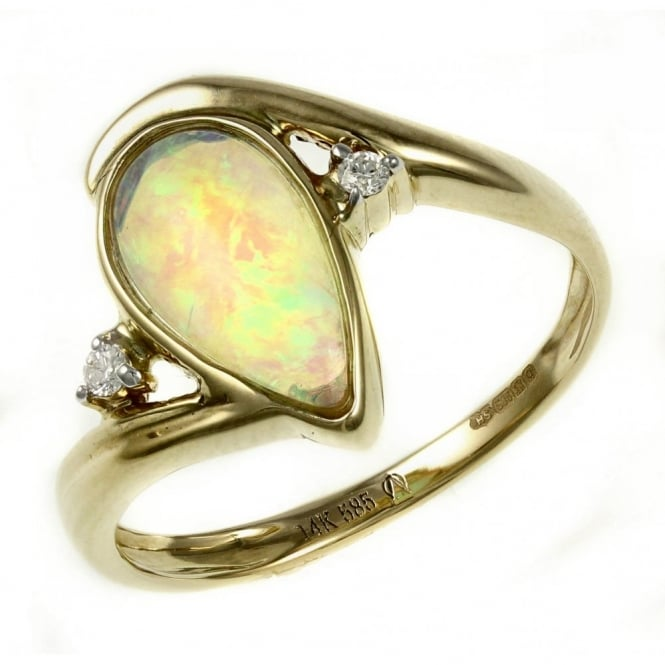 14ct yellow gold 0.84ct natural pear opal & diamond ring.