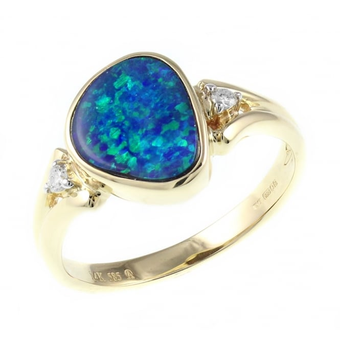 14ct yellow gold 1.07ct opal doublet & diamond ring.