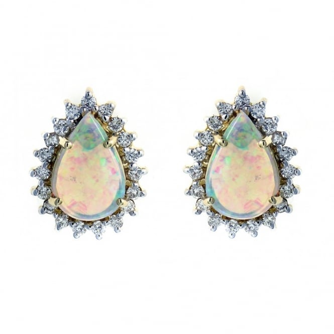 14ct yellow gold 1.11ct natural opal & 0.34ct diamond earrings.