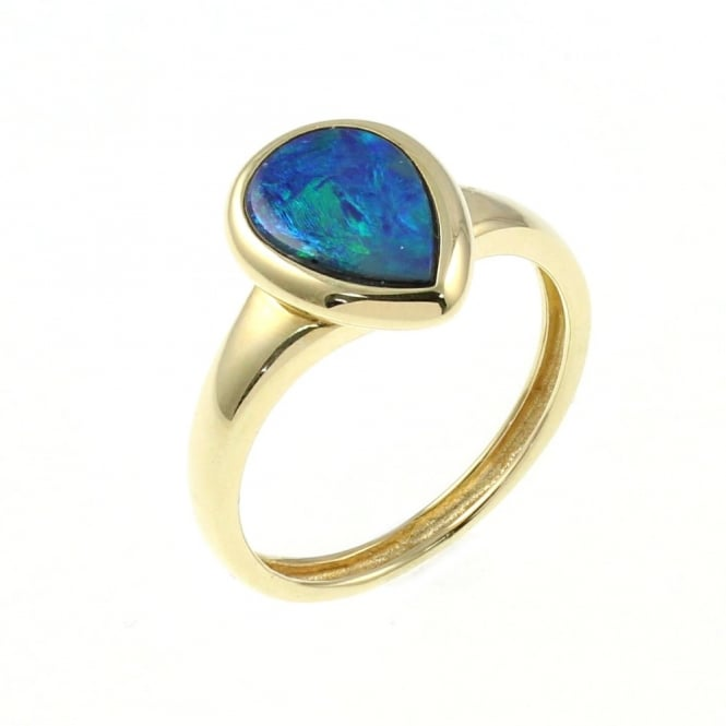 14ct yellow gold 1.33ct opal doublet ring.