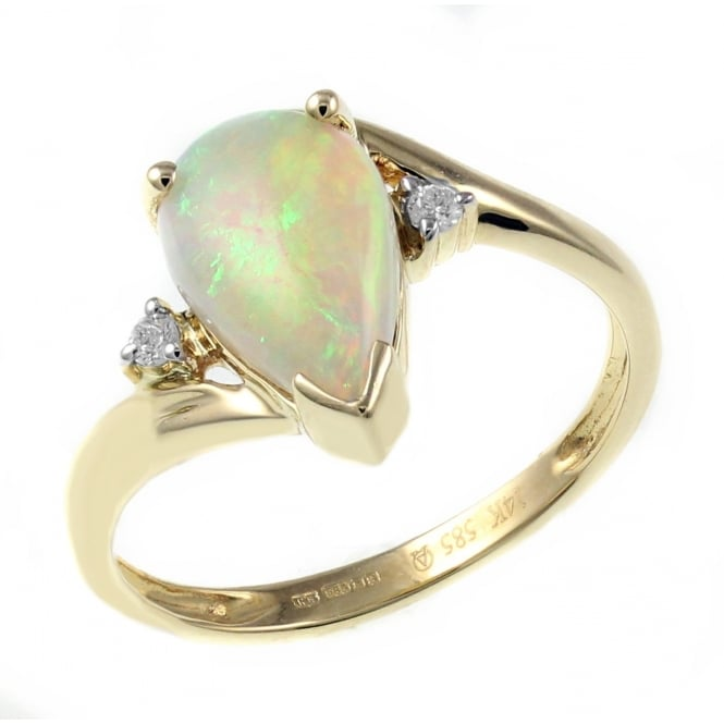 14ct yellow gold 1.55ct natural opal & diamond ring.