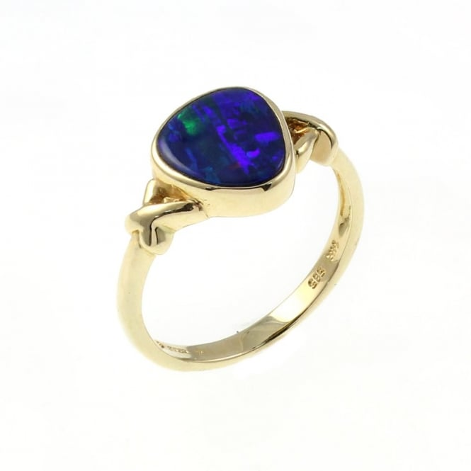 14ct yellow gold 1.59ct opal doublet ring.