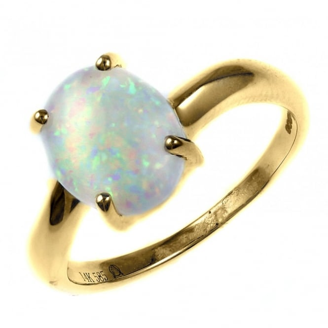 14ct yellow gold 1.75ct oval natural opal ring.