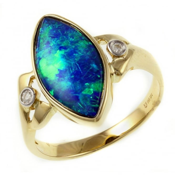14ct yellow gold 1.92ct marquise opal doublet & diamond ring.
