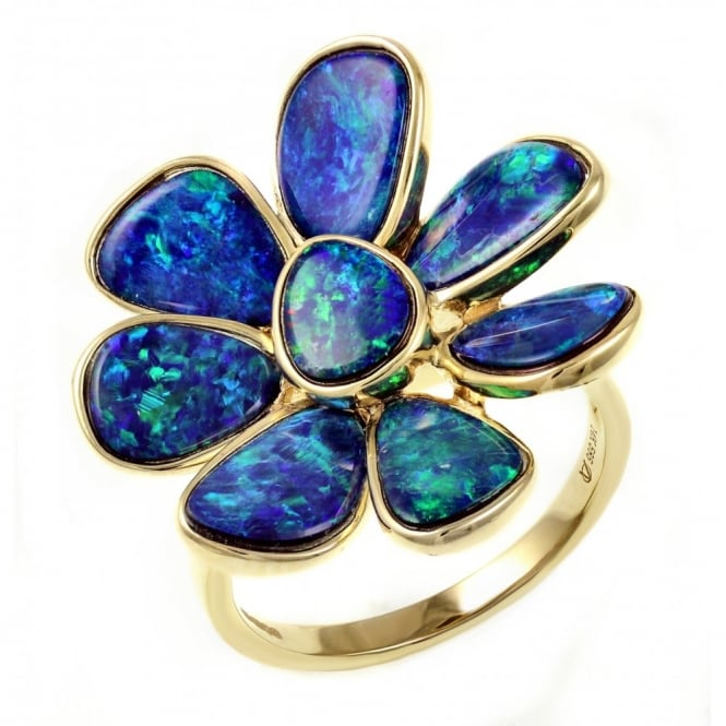 14ct yellow gold 5.30ct opal doublet flower cluster ring.