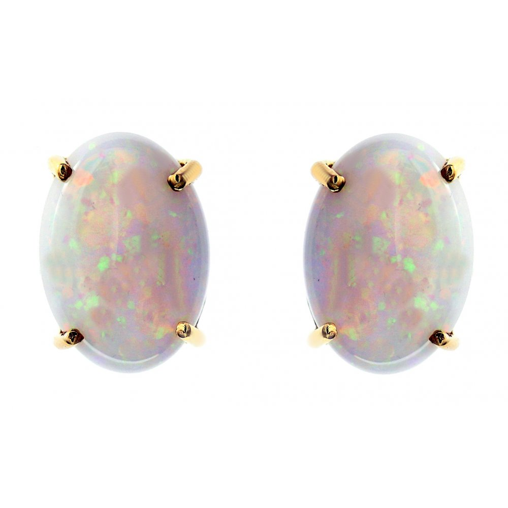 14ct Yellow Gold 7 01ct Oval Natural Opal Stud Earrings