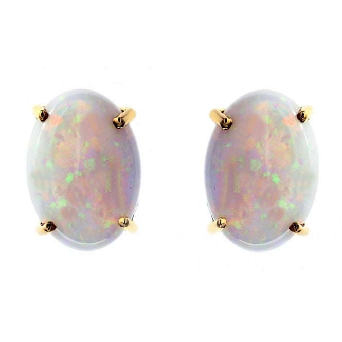 14ct yellow gold 7.01ct oval natural opal stud earrings.