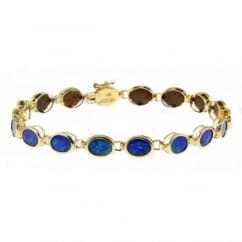 14ct yellow gold 7.36ct oval rubover opal doublet bracelet.