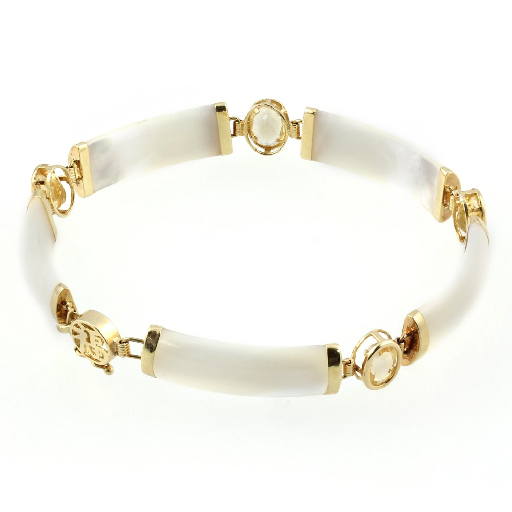 14ct Yellow Gold Mother Of Pearl Citrine Bracelet