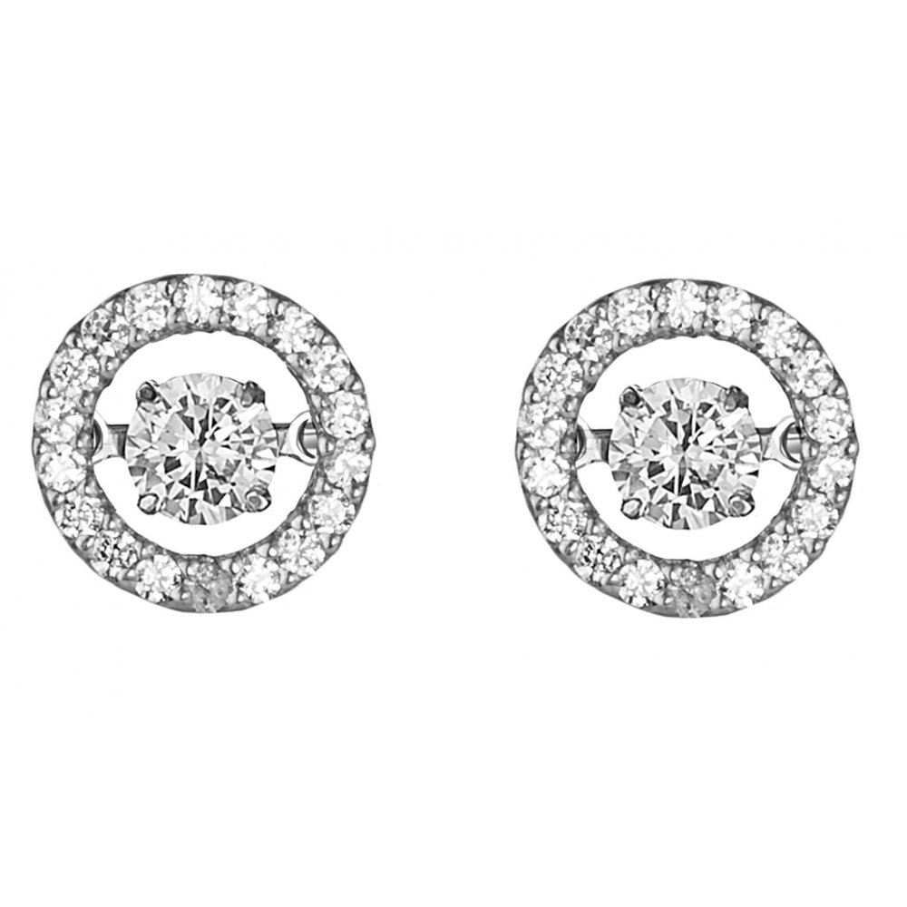 18ct 0 34ct Halo Design Diamond Stud Earrings