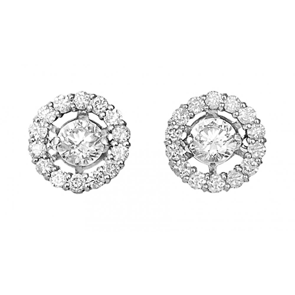 18ct 0 78ct Halo Design Diamond Stud Earrings