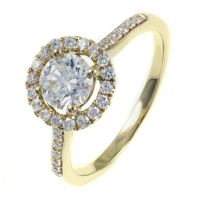 18ct gold 0.70ct D SI1 EGL round brilliant cut diamond halo ring
