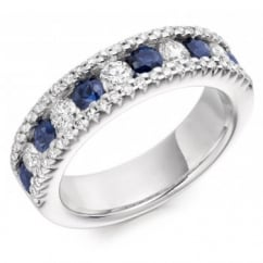 18ct gold 0.80ct sapphire & 0.85ct diamond half eternity ring.