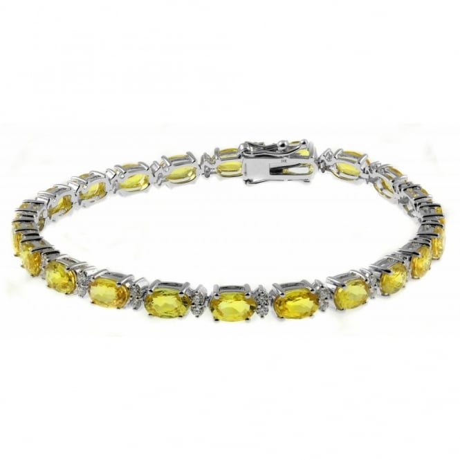 18ct gold 12.62ct yellow sapphire & 0.92ct diamond bracelet.