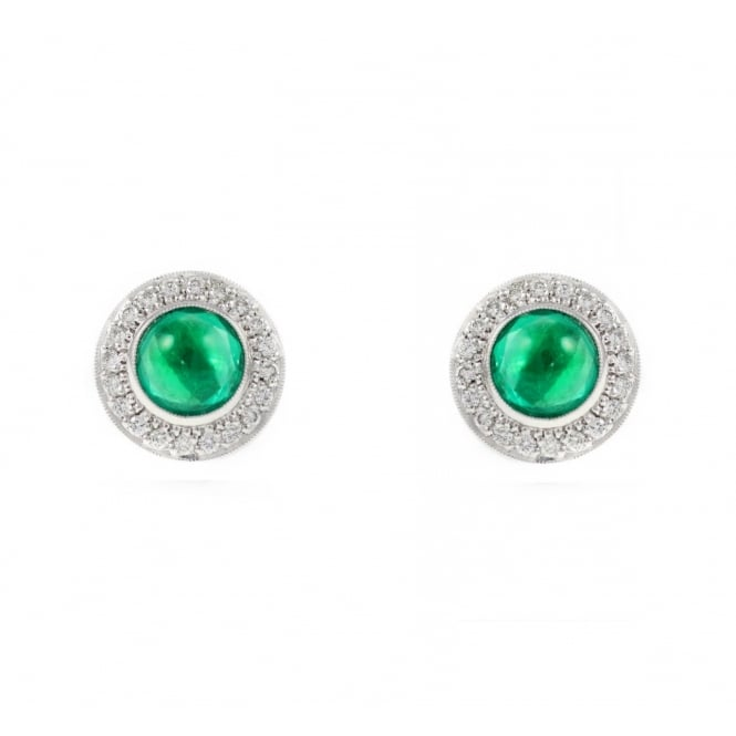 18ct gold 2.42ct cabachon emerald & 0.41ct diamond stud earrings