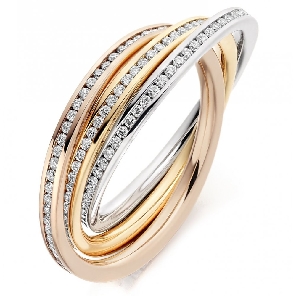 18ct Multi Gold 1 00ct Diamond Channel Russian Wedding Ring