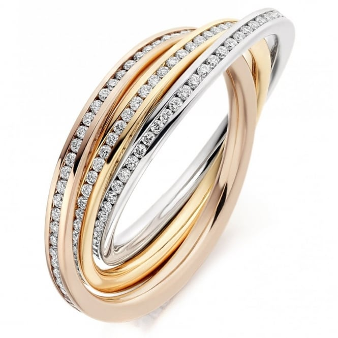The Raphael Collection 18ct multi gold 1.00ct diamond channel russian wedding ring.