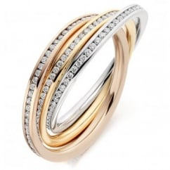 18ct multi gold 1.00ct diamond channel russian wedding ring.