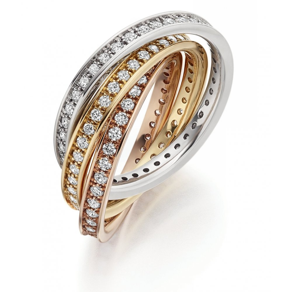 The Raphael Collection 18ct multi gold 150ct diamond channel