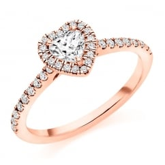 18ct rose gold 0.35ct H IF IGI heart diamond halo ring.