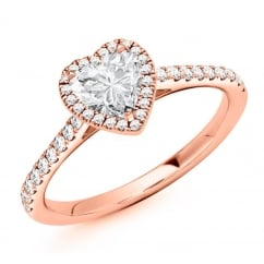 18ct rose gold 0.53ct D VVS2 IGI heart diamond solitaire ring.