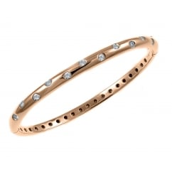 18ct rose gold 0.57ct round brilliant cut diamond set bangle.