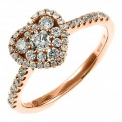 18ct rose gold 0.61ct heart shaped diamond cluster ring.