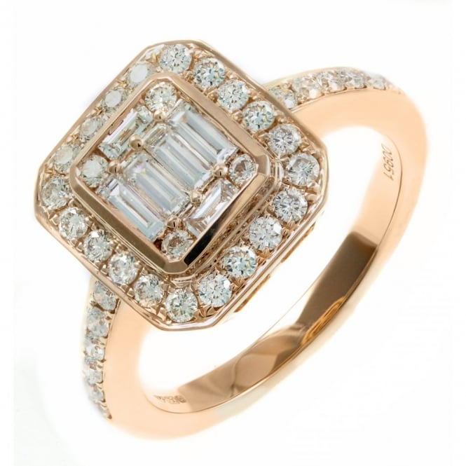 18ct rose gold 0.95ct diamond art deco style cluster ring.