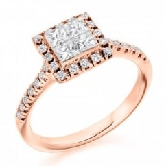 18ct rose gold 1.00ct invisible princess cut diamond ring.