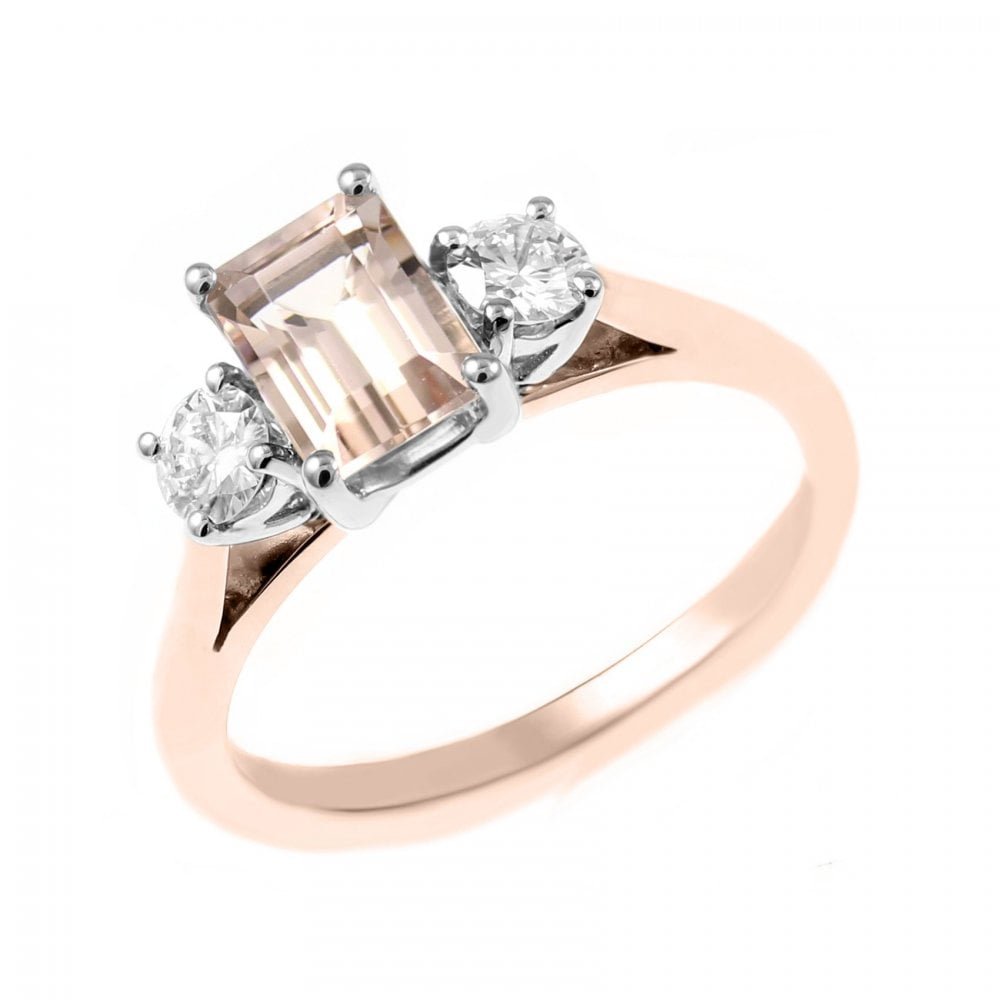 18ct Rose Gold 1 00ct Morganite 0 30ct Diamond 3 Stone Ring Jewellery From Mr Harold And Son Uk