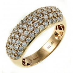 18ct rose gold 1.10ct round brilliant cut pave ring.