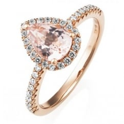 18ct rose gold 1.12ct morganite & 0.25ct diamond cluster ring.