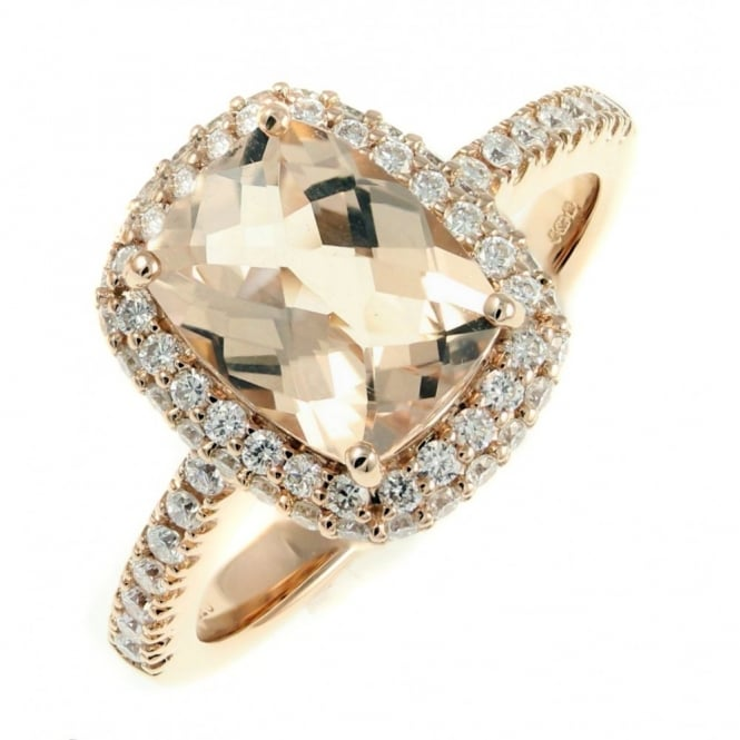 Sheldon Bloomfield 18ct rose gold 1.82ct morganite & 0.53ct diamond cluster ring.