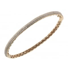 18ct rose gold 1.96ct pave set diamond bangle.