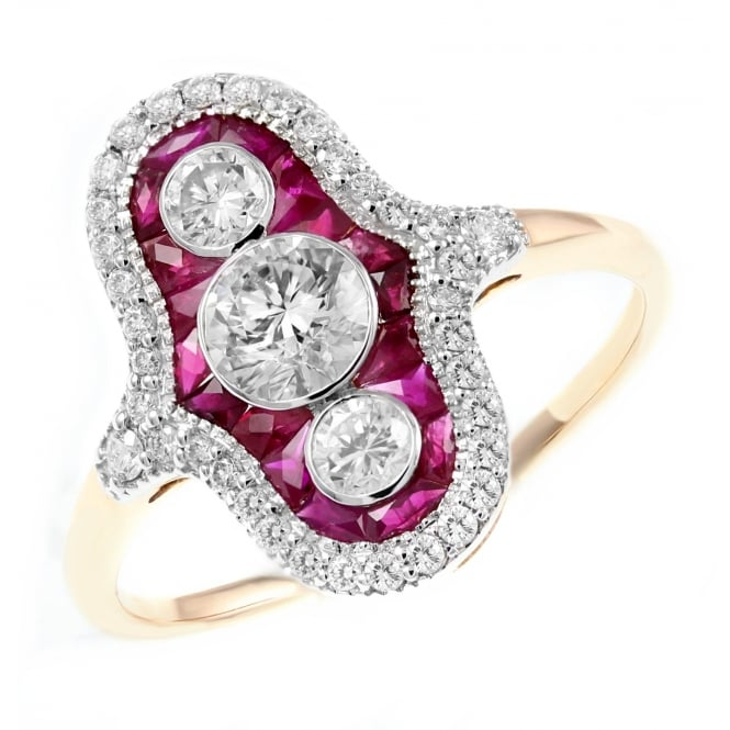 18ct rose gold 2.10ct ruby & 0.62ct diamond Art Deco style ring
