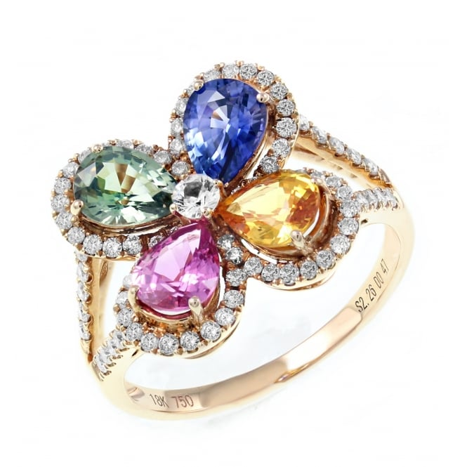 18ct rose gold 2.20ct multi sapphire & 0.47ct diamond ring.