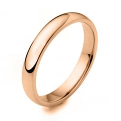 18ct rose gold 3.00mm heavy weight court wedding band.