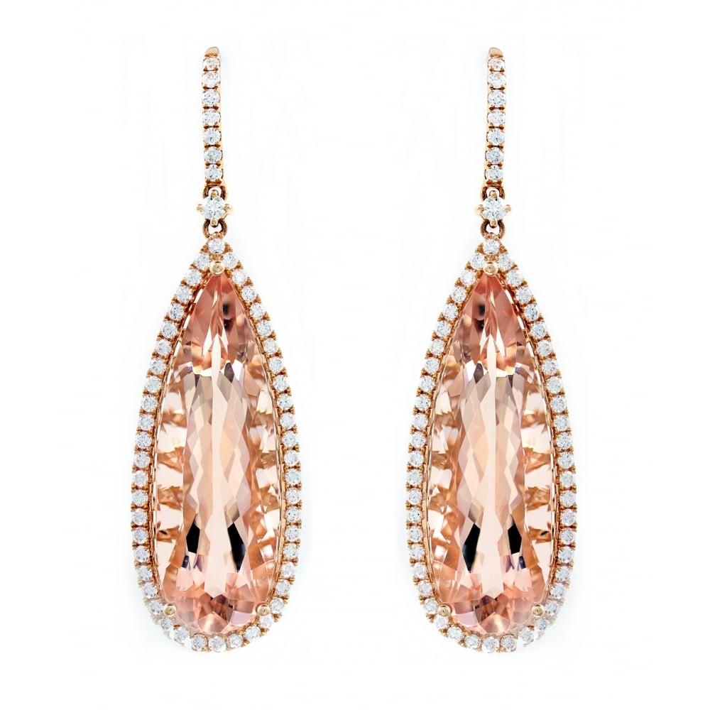 18ct Rose Gold 38 19ct Morganite 2 08ct Diamond Drop Earrings
