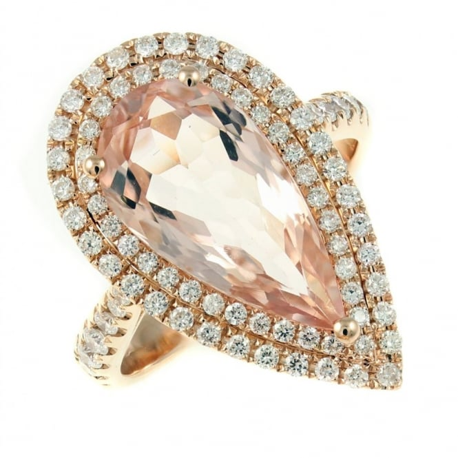 Sheldon Bloomfield 18ct rose gold 4.09ct morganite & 0.72ct diamond cluster ring.