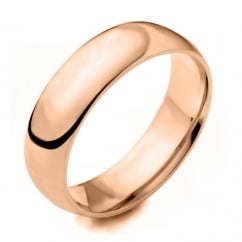 18ct rose gold 6.00mm heavy court wedding band.