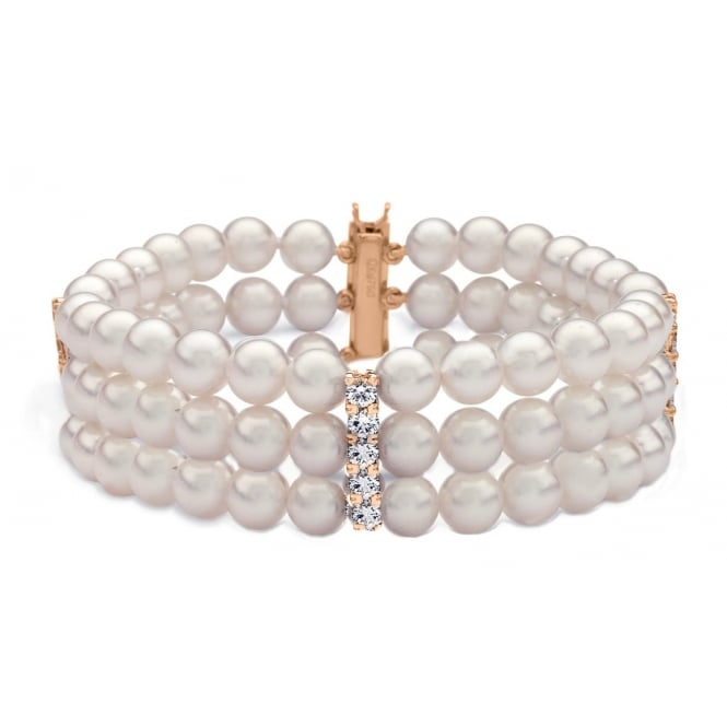 Matt Aminoff Pearls 18ct rose gold 6.0mm x 6.5mm pearl 1.62ct diamond 3 row bracelet