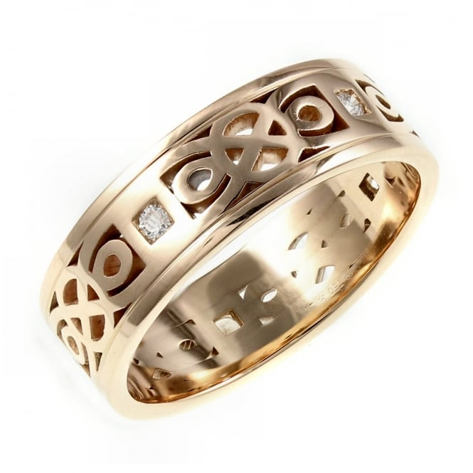 Brown & Newirth 18ct rose gold 7.0mm 0.15ct diamond set celtic wedding band.