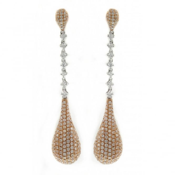 18ct rose & white gold 2.07ct pave diamond drop earrings.