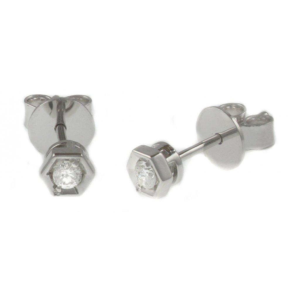 18ct White Gold 0 10ct Hexagonal Set Diamond Stud Earrings