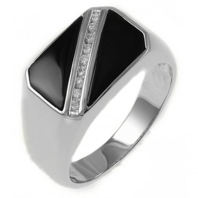 18ct white gold 0.13ct diamond & onyx gents signet ring.